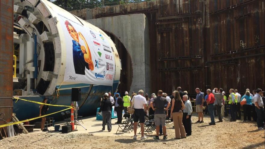 A picture of tunnel boring machine nicknamed Rosie