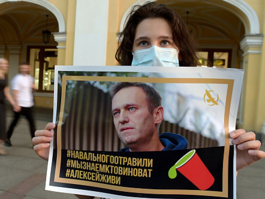 A woman holding a placard with an image of Alexei Navalny expresses support for the opposition leader in downtown St. Petersburg last month.