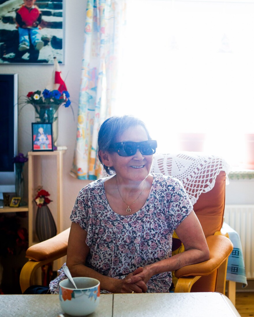 Atsa Schmidt in her living room in Nuuk.