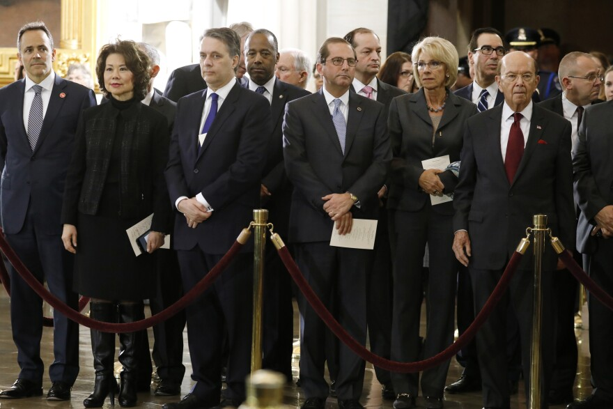 Trump administration Cabinet secretaries attend ceremonies for late evangelist Billy Graham at the U.S. Capitol on Feb. 28. At least nine current and former members of the Cabinet face accusations of abusing their office.
