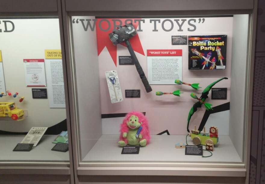 Included in the museum is a display of dangerous toys that pose safety risks like choking hazards to young kids.