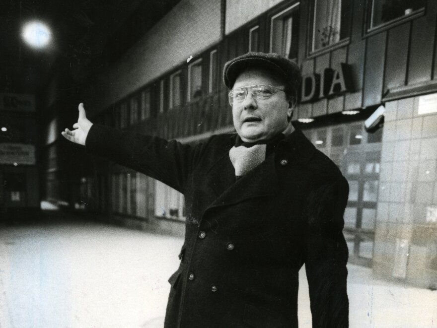 "Stig Engström, also known as ""Skandia man,"" stands outside Skandia's offices in Stockholm in 1986."