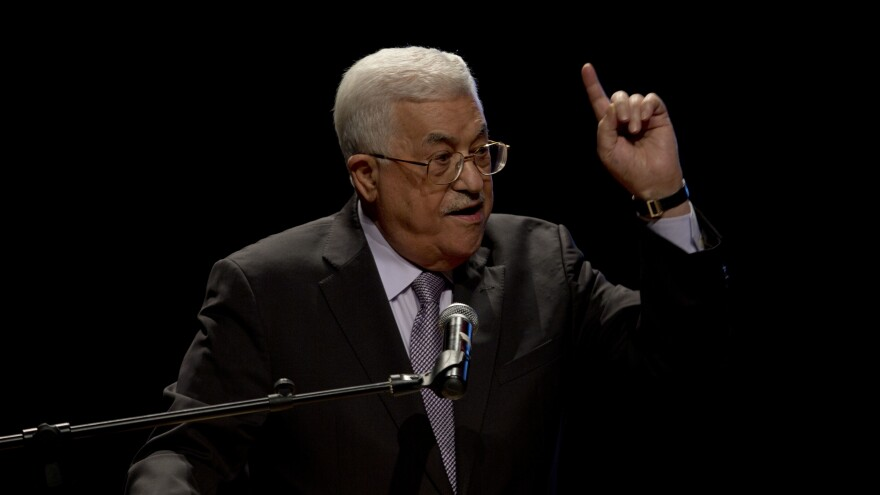 Palestinian President Mahmoud Abbas speaks in the West Bank town of Bethlehem on Oct. 1. Several days later, Abbas, 81, underwent an urgent cardiac test, but was soon released. The health scare has increased talk about a possible successor as the Palestinian leader.