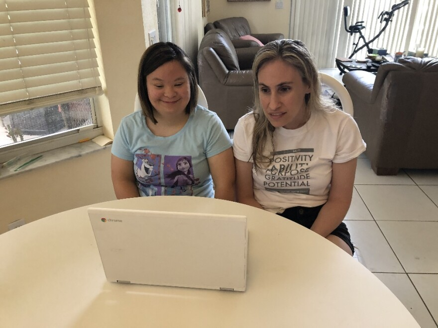 Lexi, left, and Jessica Schmidt, right, are quarantining together during the pandemic. They've also joined the 'Zoom Together' online program from Behavioral Health Associates of Broward, Counseling Centers of Goodman JFS.