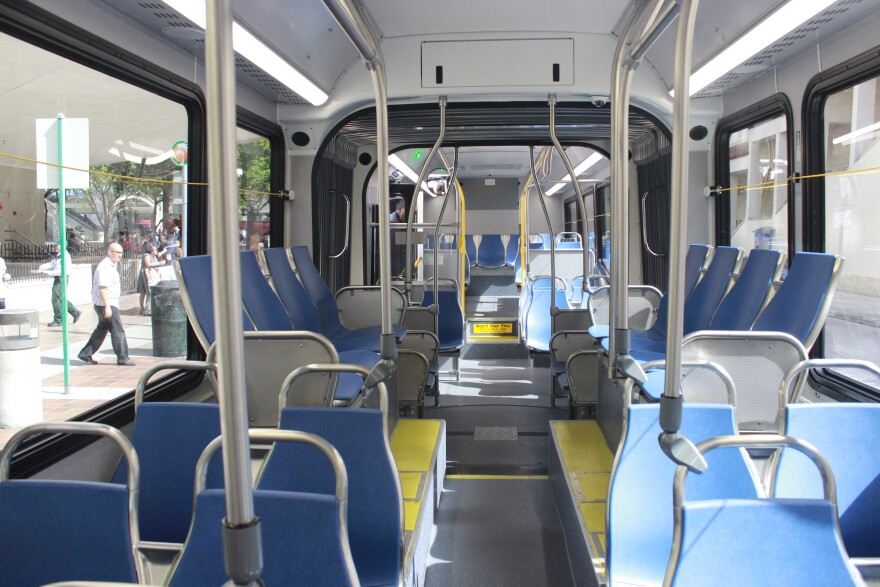 Inside the 60-foot articulated bus that accommodates up to 100 passengers.