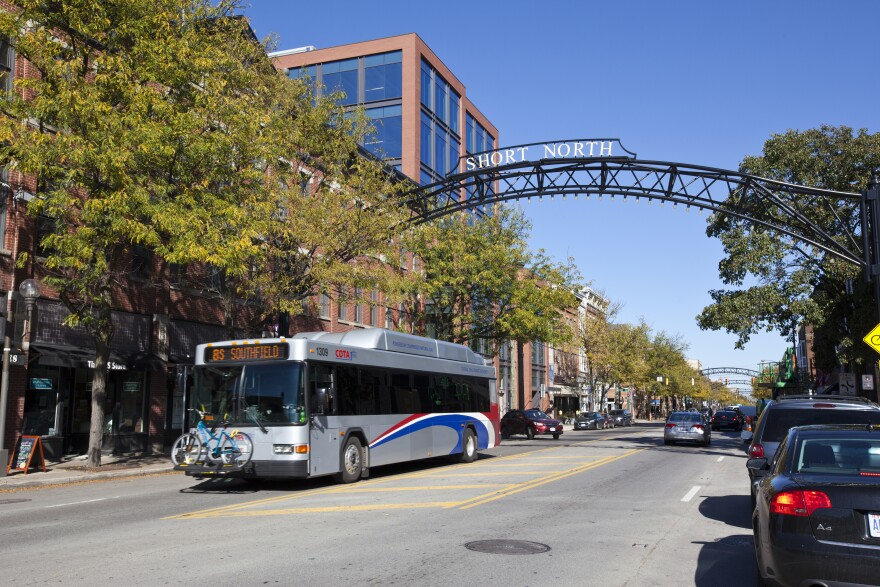 A photo of Central Ohio Transit Authority bus in the Short North district of Columbus.