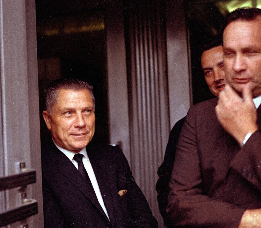 Teamsters Union leader Jimmy Hoffa (left) is pictured in Chattanooga, Tenn., on Aug. 21, 1969.