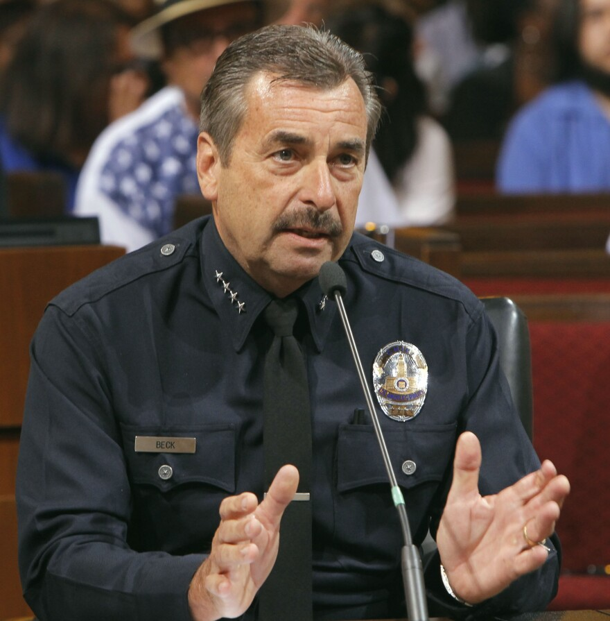 """At a Los Angeles City Council meeting Tuesday, Los Angeles Police Chief Charlie Beck says large, for-profit pot dispensaries """"cause a public danger."""""""