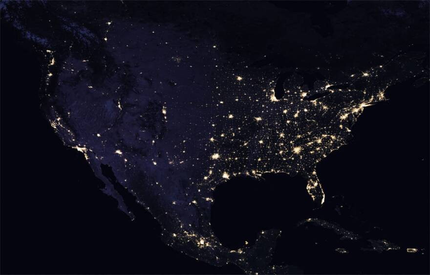 A NASA satellite image of light pollution in North America in 2016.