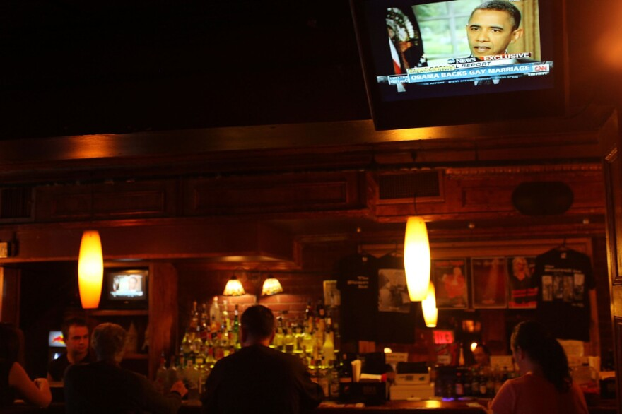 President Obama was on a TV monitor at the Stonewall Inn in New York City, a key historic site of the gay-rights movement.