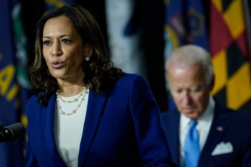 Democratic presidential candidate former Vice President Joe Biden's running mate Sen. Kamala Harris (D-CA) speaks during an event at the Alexis Dupont High School in Wilmington, Delaware.