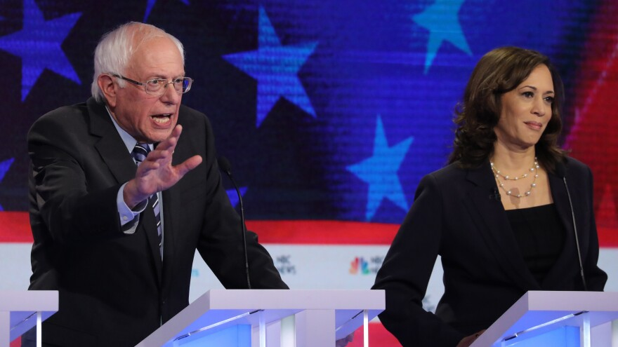 Democratic presidential candidates Sen. Bernie Sanders of Vermont and Sen. Kamala Harris of California both argued that the economy is not working well for average Americans on stage Thursday at the Democratic presidential debate.