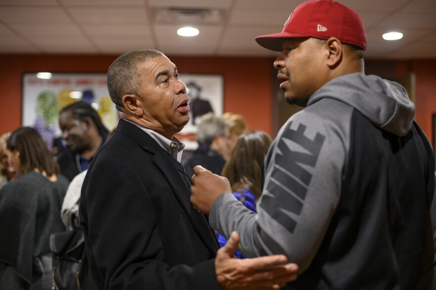 Democratic U.S. Rep. Lacy Clay talks with supporters Tuesday night at a Pasta House restaurant in University City. Clay easily defeated his 1st District Republican challenger Robert Vroman.