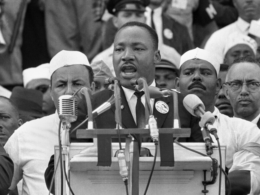 """Martin Luther King Jr. addresses marchers during his """"I Have a Dream"""" speech."""