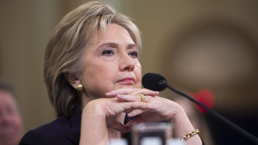 Former Secretary of State and current Democratic presidential candidate Hillary Clinton appears before the House Select Committee on Benghazi on Capitol Hill on Thursday.