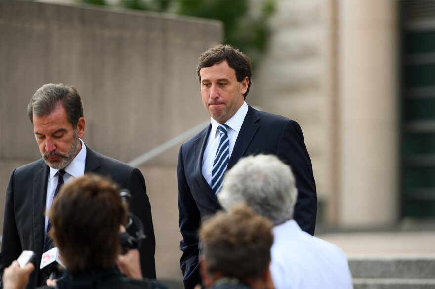 Former St. Louis County Executive Steve Stenger walks out of federal court on August 9, 2019, after being sentenced to nearly 4 years in prison for public corruption.
