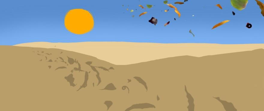 Leaves over desert.