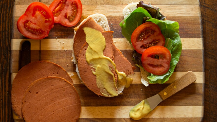 No need to wonder what's in this bologna; The Herbivorous Butcher lists every ingredient on its website: Tofu, vital wheat gluten, tomato juice, tapioca flour, tomato paste, nutritional yeast, vegan beef bouillon, canola oil, soy sauce, agar agar, red beet powder, sugar, salt, liquid smoke, onion powder, garlic powder and celery seed.