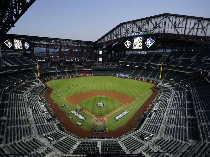 The Tampa Bay Rays practice at Globe Life Field with the roof open as the team prepares for Tuesday's World Series opener against the Los Angeles Dodgers, in Arlington, Texas. First pitch for Game 1 is 8:09 pm (ET).