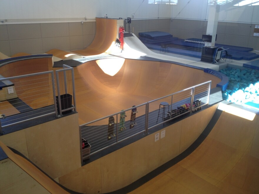 Training facilities, like this indoor freestyle snowboard and ski area, are just below the classrooms.