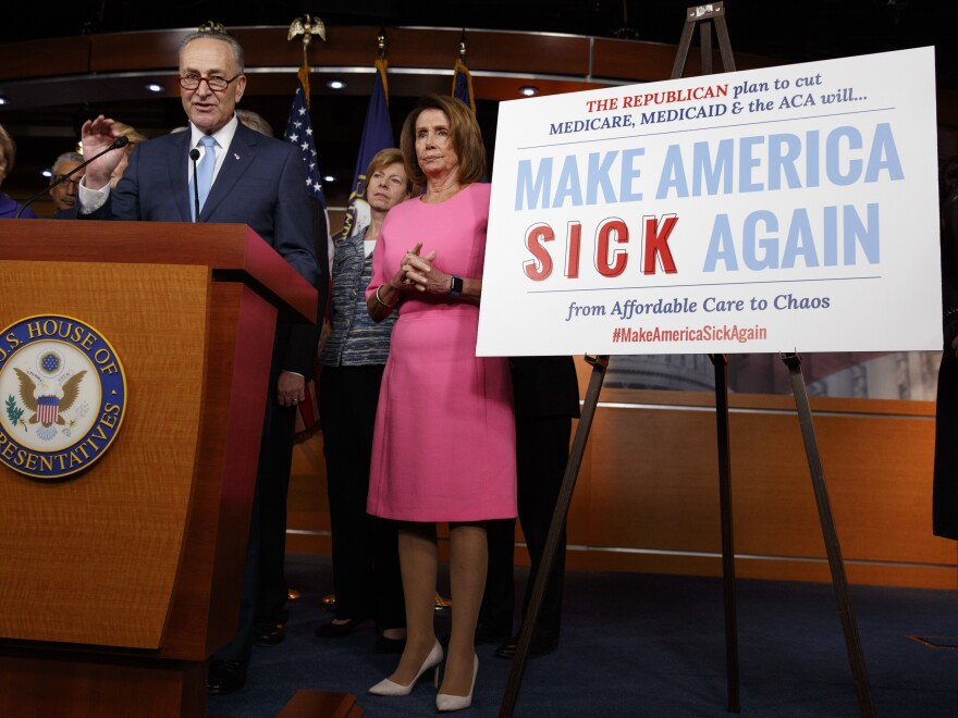 """Senate Minority Leader Chuck Schumer, joined by fellow congressional Democrats on Jan. 4, brands what Republicans are trying to do when it comes to health care as """"Make America Sick Again."""""""