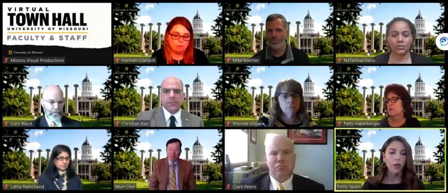 The University of Missouri held a virtual town hall on Tuesday for faculty and staff to ask questions about the financial fallout from COVID-19.