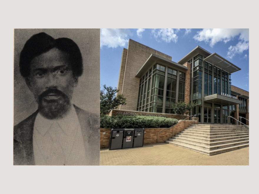 a photo of matthew gaines and a photo of Texas A&M memorial student center