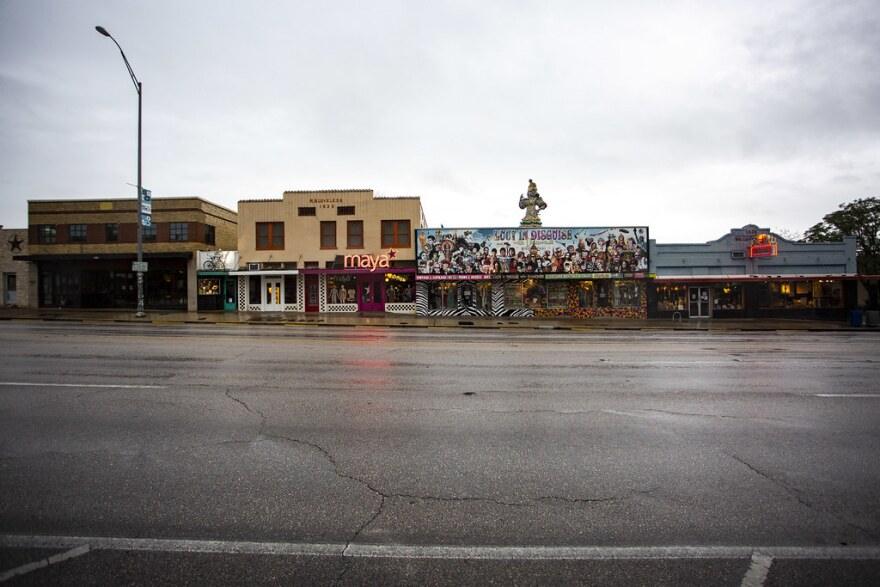 South Congress is devoid of people and cars on Friday.