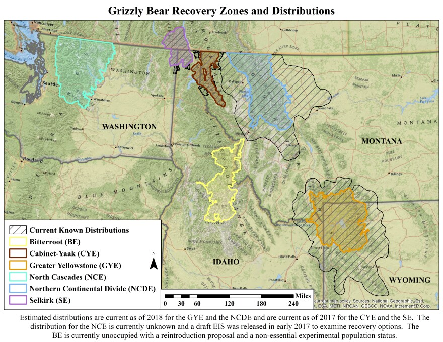 Grizzly bear recovery zones, distributions, and distinct population segments (distributions current as of 2017 and 2018).