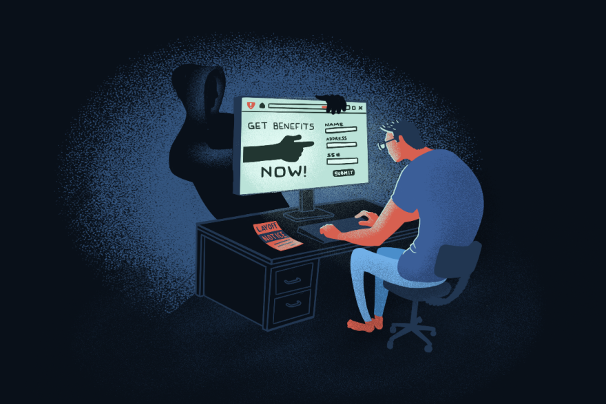 Illustration of a person who has just been laid off sitting at a computer looking at a website that asks him to enter his personal information to get benefits quickly.
