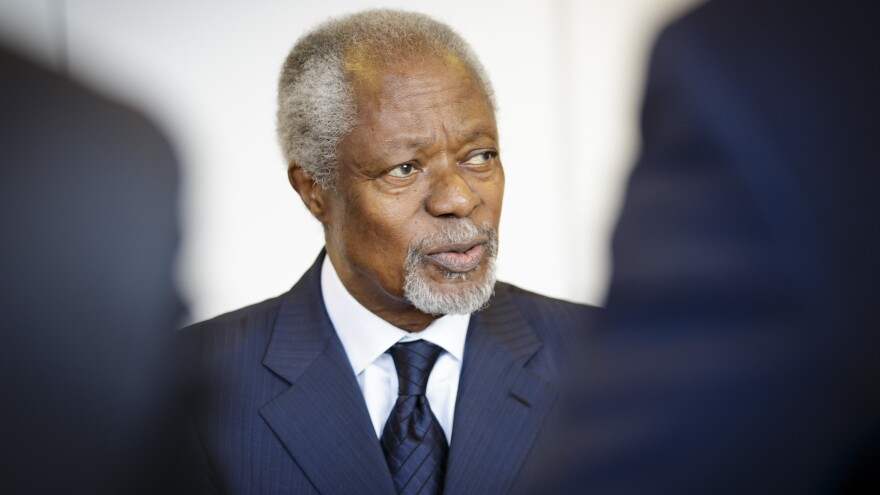 """Kofi Annan was awarded the Nobel Peace Prize jointly with the United Nations in 2001 """"for their work for a better organized and more peaceful world."""""""