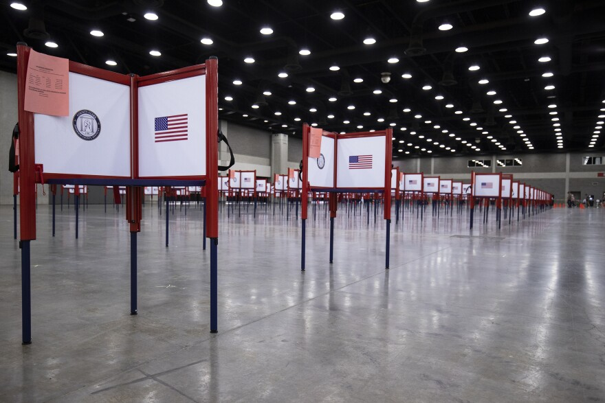 Detail view of voting booths during Tuesdays Kentucky primary election on June 23, 2020 in Louisville, Kentucky. (Brett Carlsen/Getty Images)