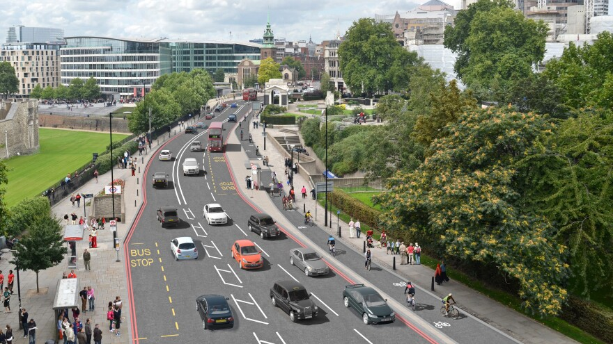 An artist's conception shows the two-way cycle track on Tower Hill. The track is part of London's new plan to boost its bicycle infrastructure.