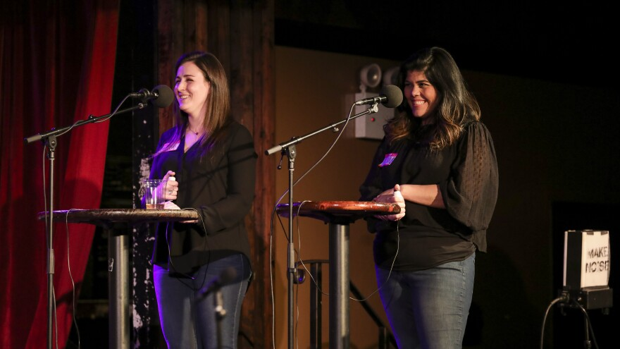 Contestants Sarah Favinger and Tatyana Vega appear on Ask Me Another at the Bell House in Brooklyn, New York.