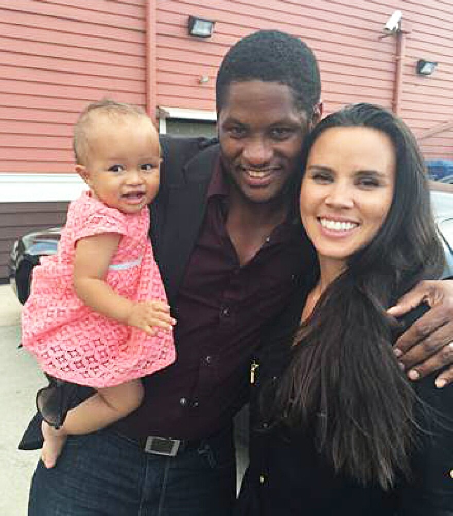 """American Ky Adderley (center) with his wife, Shanna Farrar Adderley, and their daughter, Gisela Sky, live in Brazil. He says being an educated black man feels like a subversive act in Brazil. """"All the blacks that I see are in service jobs, and the darker you are, the less you are seen,"""" he says. """"Your job is maybe back in the kitchen and not out waiting a table."""""""