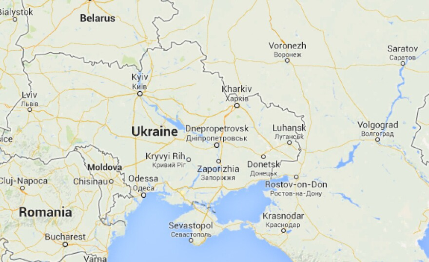 A version of Google Maps on its U.S. site shows the Crimean Peninsula with a dotted line instead of an international border.