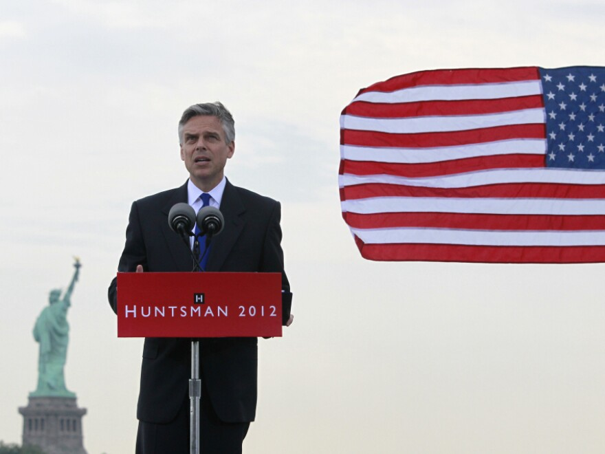 Former Utah Gov. Jon Huntsman announces his bid for the 2012 Republican presidential nomination Tuesday.