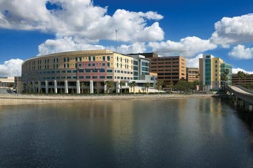 Tampa General Hospital from the outside, on the river.