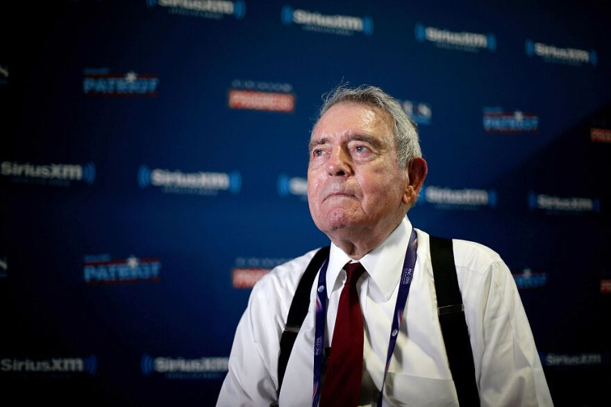 Journalist Dan Rather prepares to record an interview while in the SiriusXM radio booth at Quicken Loans Arena on July 18, 2016 in Cleveland, Ohio. (Kirk Irwin/Getty Images for SiriusXM)