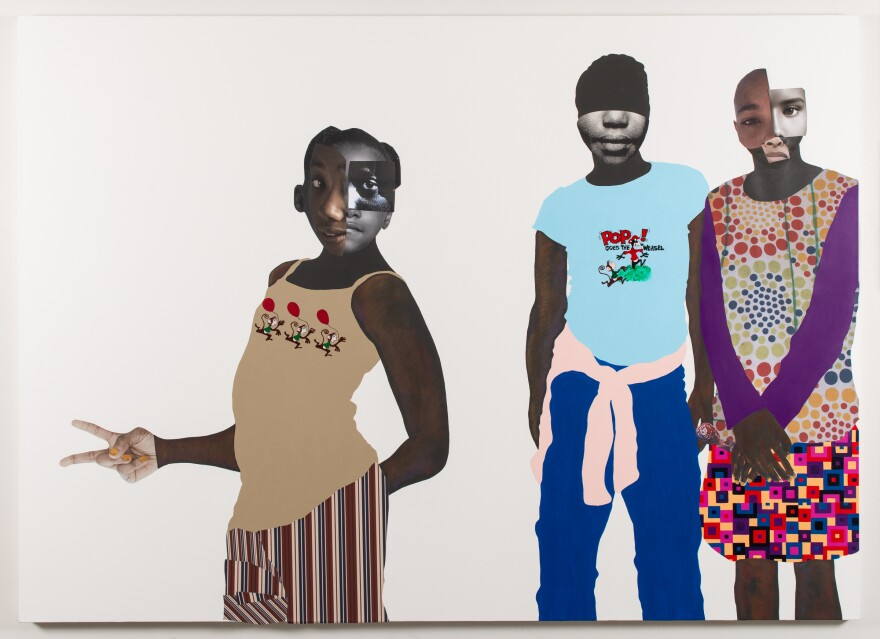 'The duty of disobedience,' 2020 by Deborah Roberts. Mixed media collage on canvas.