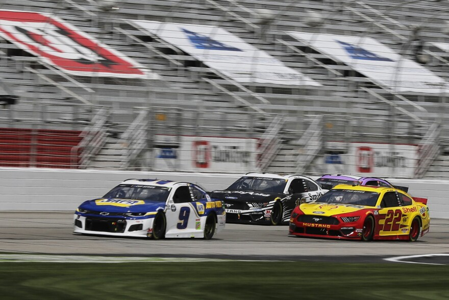 Chase Elliott (9), Aric Almirola (10) and Joey Logano (22) drive during a NASCAR Cup Series race Sunday at Atlanta Motor Speedway on Hampton, Ga. On Wednesday, NASCAR announced a ban of the Confederate battle flag.