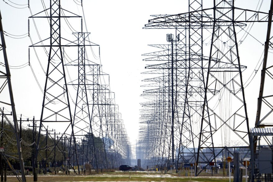 Power lines are shown Tuesday, Feb. 16, 2021, in Houston.