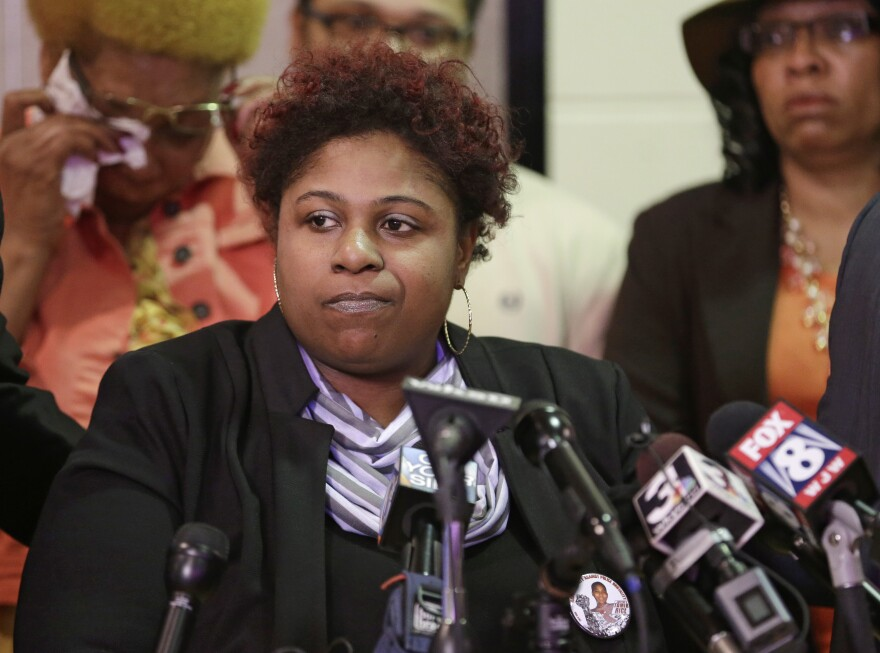 Samaria Rice, the mother of Tamir, a 12-year-old boy fatally shot by a Cleveland police officer, speaks during a news conference on Tuesday.