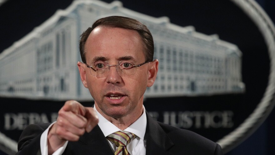Deputy Attorney General Rod Rosenstein speaks at a news conference in October at the Justice Department.