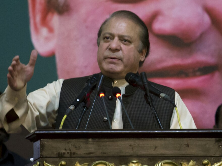 Former Pakistani Prime Minister Nawaz Sharif addresses his Pakistan Muslim League supporters during a party general council meeting in Islamabad, Pakistan, in October.