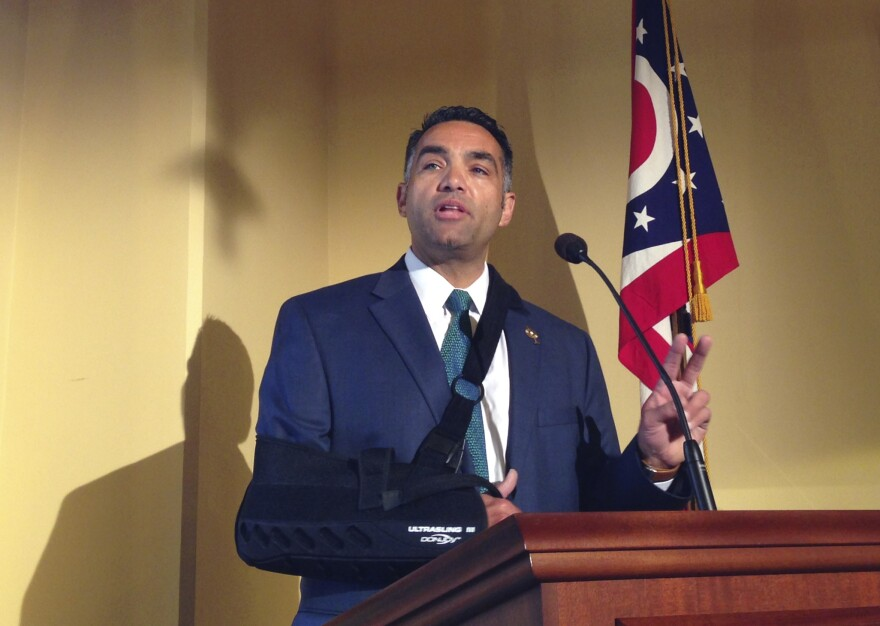 State Rep. Nino Vitale, a Republican who represents the 85th Ohio House District, is seen at a news conference in Columbus, Ohio, in 2016.