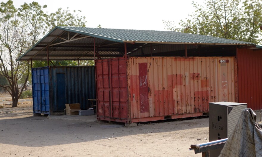 This is one of the shipping containers at the church compound where the massacre allegedly occurred. There are conflicting accounts of which container the men and boys were forced into.