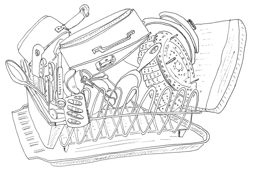 """John Donohue's holistic approach to weeknight meals includes calming himself by drawing the dish rack. """"What I love about the dish rack is that it's an automatic still life,"""" he says. """"It's almost always full of pots and pans, and it's always different."""""""