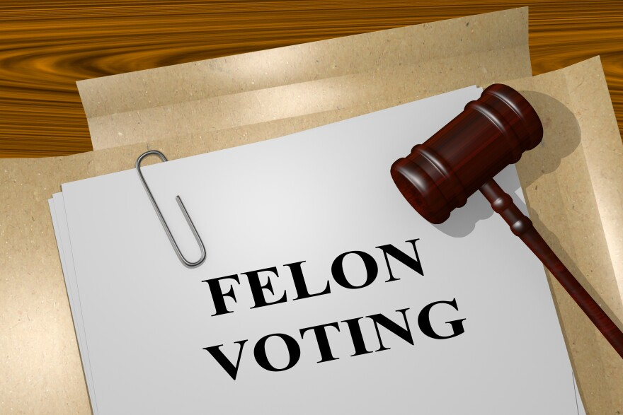 """files and a gavel. text reads """"felon voting"""""""