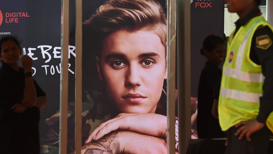 """An advertisement for Justin Bieber's Purpose Tour, outside of DY Patil Stadium in Mumbai on May 10, 2017. Just over two months later, Bieber would cancel the remainder of that tour, citing """"unforeseen circumstances."""""""